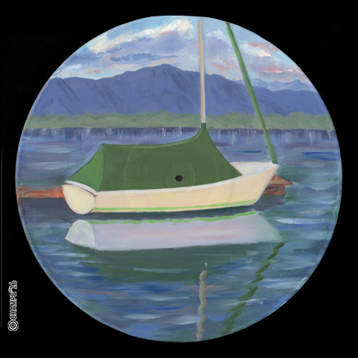 684 R5 green covered sail boat  7x7x72